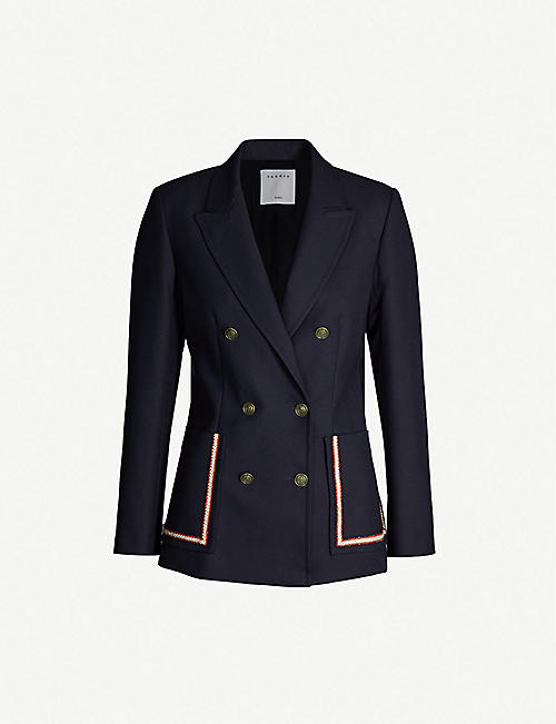 SANDRO Double-breasted crepe blazer