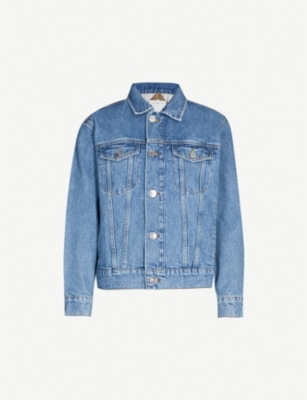 SANDRO Graphic-lined denim jacket