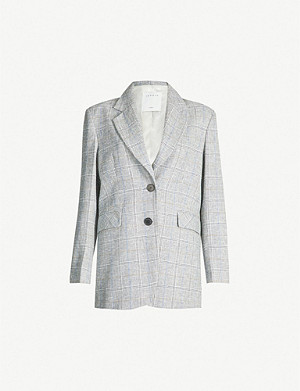 SANDRO Checked single-breasted linen-blend jacket