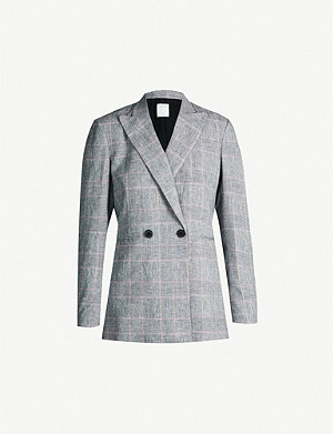 SANDRO Checked double-breasted linen-blend blazer