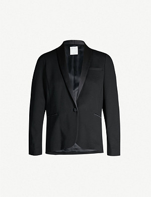 SANDRO Contrasting shawl-lapel single-breasted twill blazer