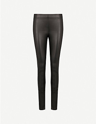 JOSEPH: Panelled stretch-leather trousers