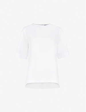 JOSEPH Button-back cotton-poplin blouse