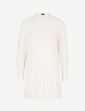 JOSEPH Band-collar silk shirt