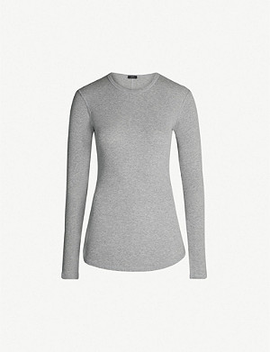 JOSEPH Ribbed cotton-and-cashmere blend top