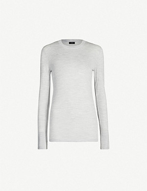JOSEPH Logo-embroidered merino-wool jumper