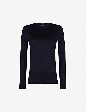 JOSEPH Logo-embroidered merino wool jumper