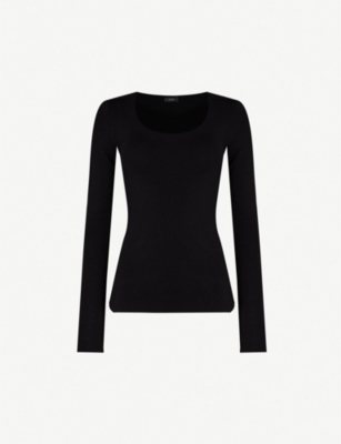JOSEPH Scoop neck stretch-silk jumper