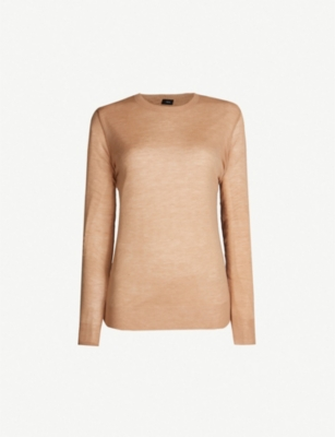 JOSEPH Elbow-patch cashmere jumper