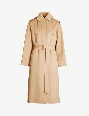 JOSEPH Carbon belted wool and cashmere-blend coat