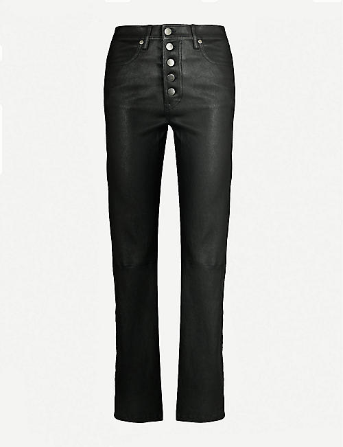 1db925fdb69882 JOSEPH Den straight high-rise leather trousers