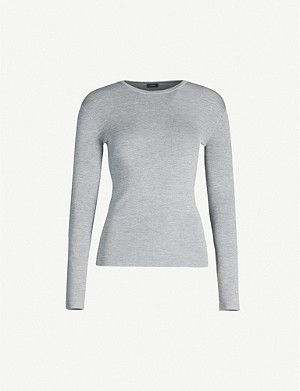JOSEPH Scoop-neck silk-blend jumper