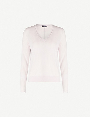 JOSEPH Brand-embroidered V-neck wool jumper
