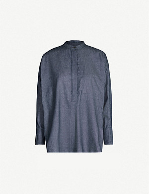JOSEPH Henry oversized band-collar cotton-chambray blouse