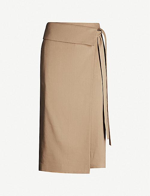 ed4397e06ff JOSEPH Finch fitted high-rise linen-blend skirt