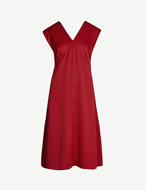 JOSEPH Sienna V-neck satin midi dress