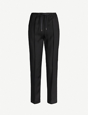 JOSEPH Dino Liquid tapered mid-rise twill trousers