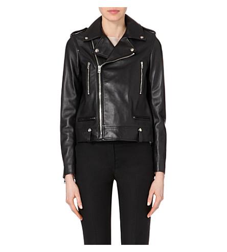 Ryder Leather Moto Jacket, Navy in Black