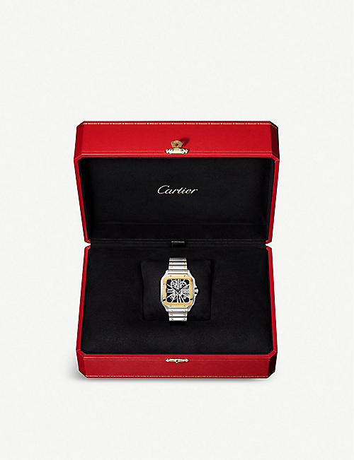 CARTIER Santos de Cartier Skeleton 18ct yellow-gold and steel watch