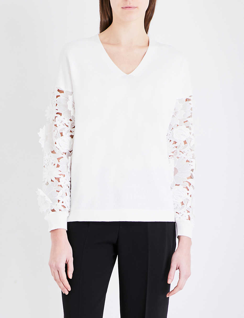 27edb7223e140 FRENCH CONNECTION - Manzoni 3D lace cotton-knitted jumper ...