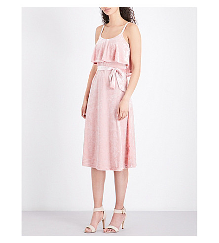 a19839ffd9930 WAREHOUSE Crushed velvet cami dress (Pale+pink