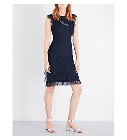 34aa2b045ca0 WAREHOUSE Eyelash frill lace dress (Navy