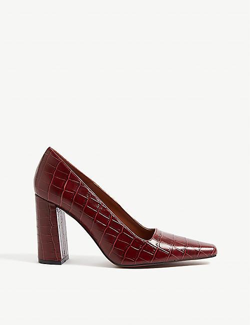 52f420f0ef5 TOPSHOP Geena croc-embossed leather block court