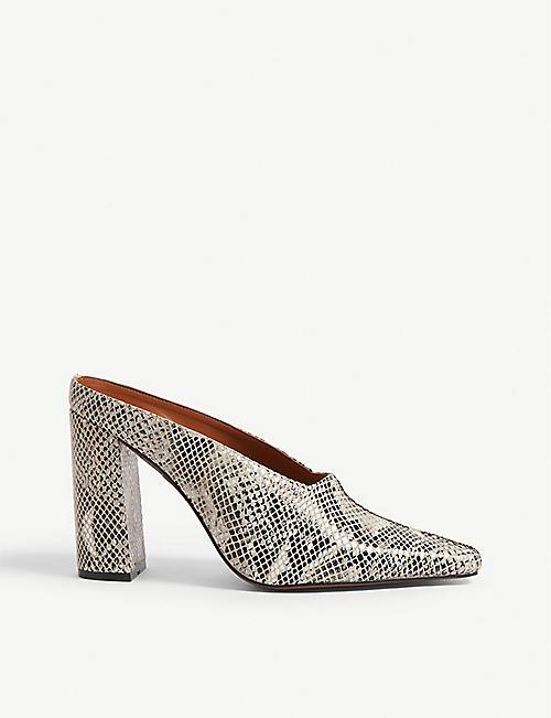 4eae9f6eb63 TOPSHOP Geraldine snake-embossed leather mule