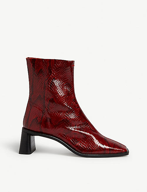 TOPSHOP Maja snake-embossed leather boots