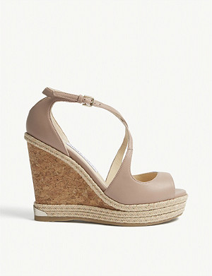 JIMMY CHOO Dakota 120 leather wedge sandals