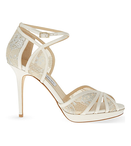 188fe3758eed JIMMY CHOO Fable 100 satin and lace heeled sandals (Ivory white