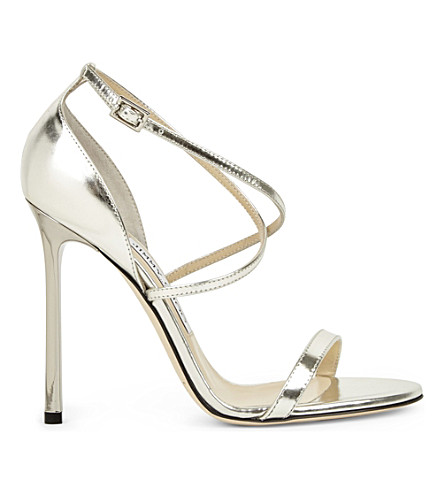 96623b2a861b ... JIMMY CHOO Hesper 110 metallic-leather heeled sandals (Silver.  PreviousNext