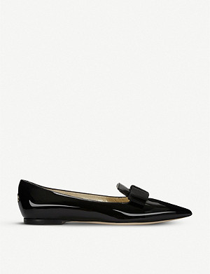 JIMMY CHOO Gala patent-leather pointed-toe flats