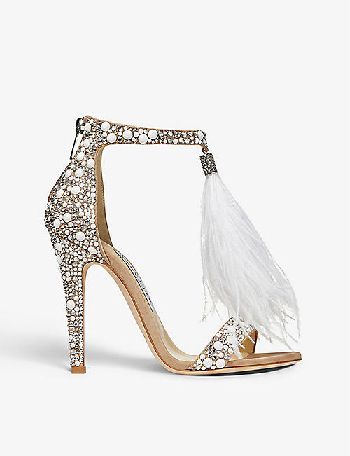 JIMMY CHOO: Viola 110 suede, ostrich-feather and hotfix-crystal heeled sandals