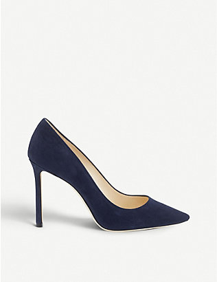JIMMY CHOO: Romy 100 pointed-toe suede courts