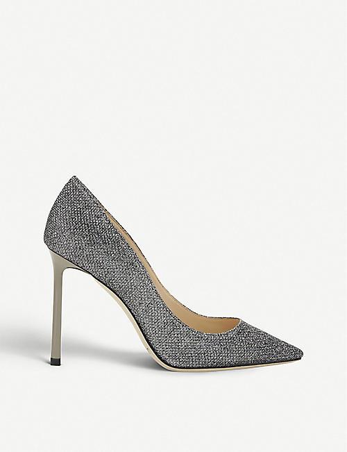 f8c45db8c8 JIMMY CHOO Heloise 120 glitter spotted velvet platform heels. £595.00. JIMMY  CHOO Romy 100 embellished courts