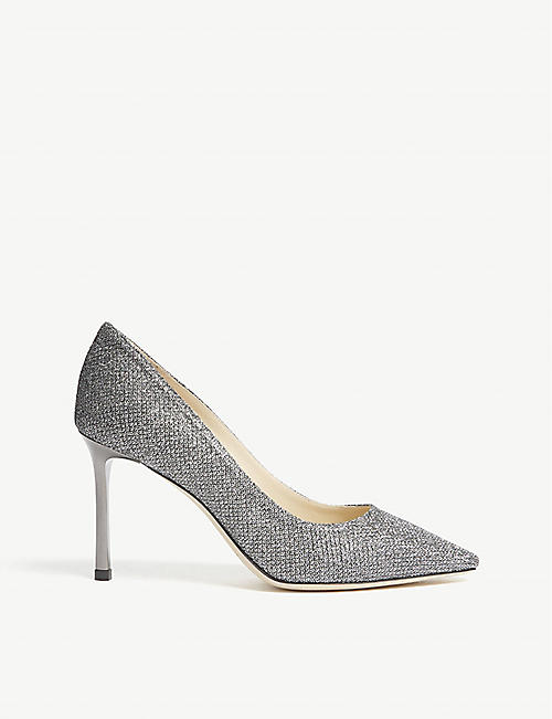 4f30228fd0e6 JIMMY CHOO Romy 85 Anthracite Lamé Glitter heeled pumps