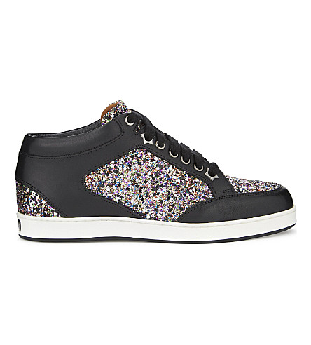 1194d617a65 JIMMY CHOO Miami leather and coarse glitter trainers (Multi black