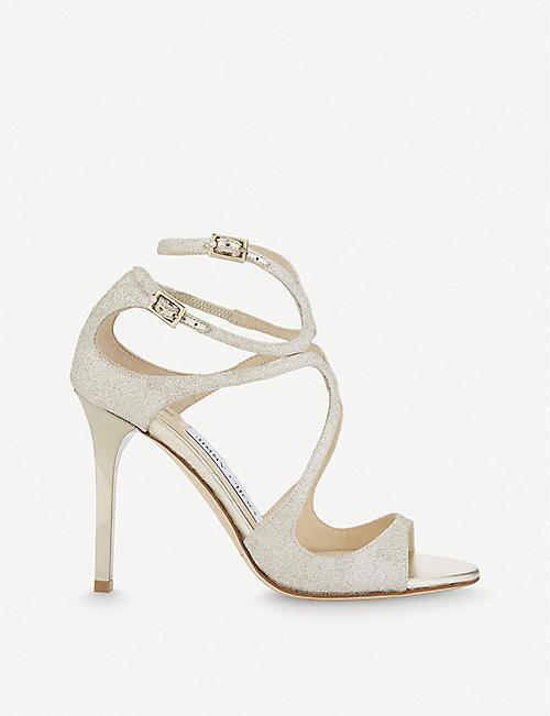 a3549b408db8a JIMMY CHOO - Lang 100 glitter heeled sandals | Selfridges.com