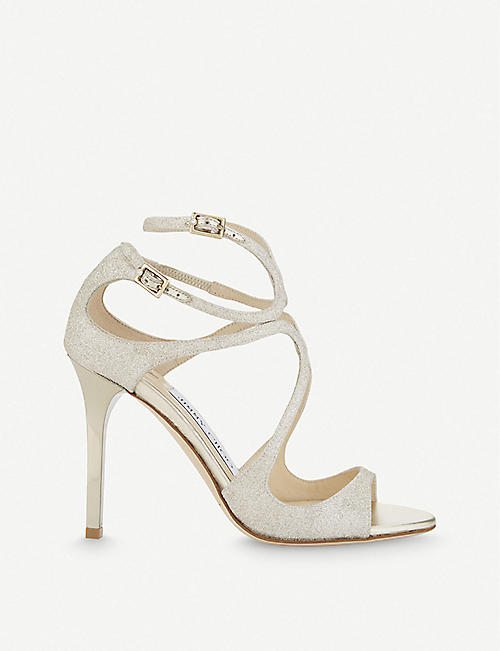 JIMMY CHOO Lang 100 glitter heeled sandals