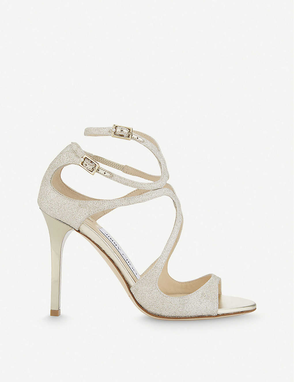 JIMMY CHOO: Lang 100 glitter heeled sandals
