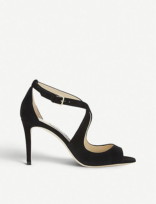 JIMMY CHOO Emily 85 suede heeled sandals