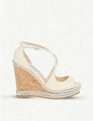 JIMMY CHOO: Dakota 120 leather wedge sandals