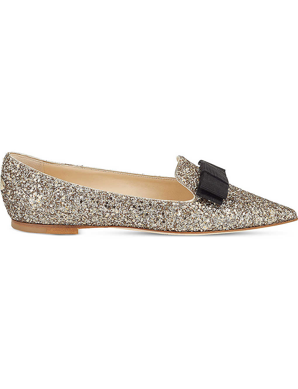 5943ec127 JIMMY CHOO - Gala coarse glitter pointed-toe flats | Selfridges.com