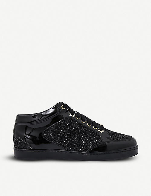 6684058056d JIMMY CHOO Miami patent-leather and glitter sneakers