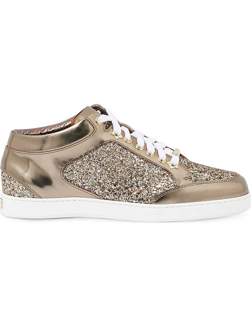a9372aeb86df JIMMY CHOO - Miami metallic-leather and glitter sneakers ...
