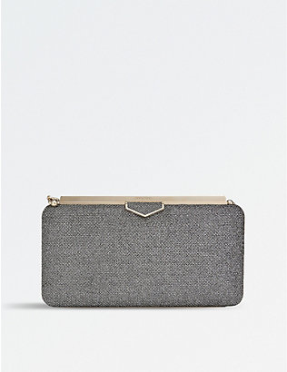 JIMMY CHOO: Ellipse lamé glitter clutch