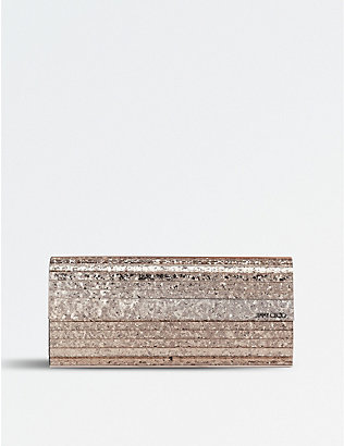 JIMMY CHOO: Shadow coarse glitter acrylic clutch bag