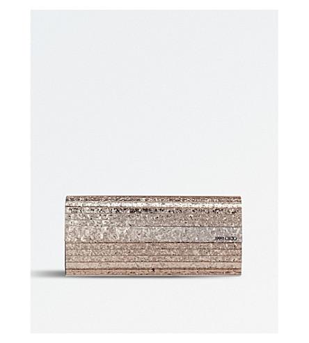 Jimmy Choo Sweetie Ballet Pink Shadow Coarse Glitter Acrylic Clutch Bag
