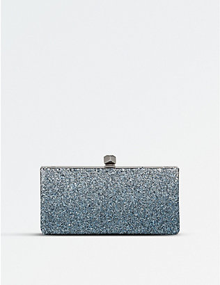JIMMY CHOO: Celeste glitter and leather clutch bag